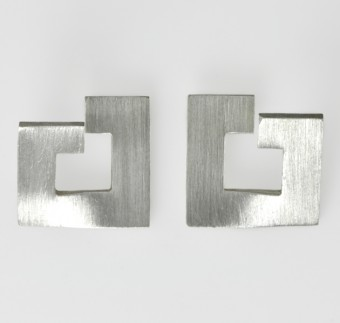 Silver Modern Brushed Texture Studs 15mm Across